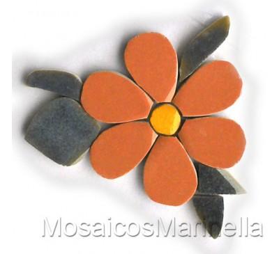 Flor Laranja com pétalas redondas e folhas