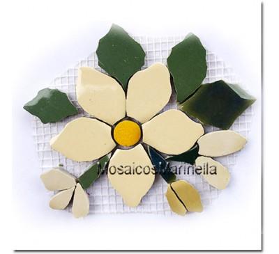 Aplique para mosaico flor creme com botões
