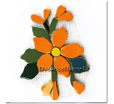Aplique para mosaico flor laranja com botões