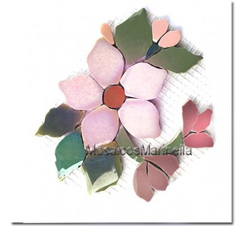 Aplique para mosaico flor rosada  com botões
