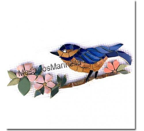 Aplique para mosaico  Pássaro-Azul