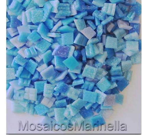 Pastilha de vidro corte manual azul claro