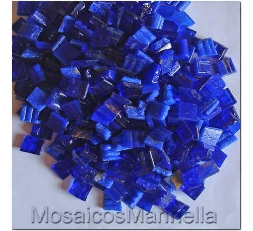 Pastilha de vidro corte manual azul escuro