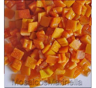 Pastilha de vidro corte manual laranja