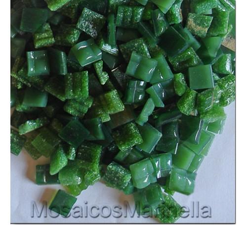 Pastilha de vidro corte manual verde escuro