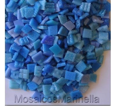 Pastilha de vidro corte manual azul médio